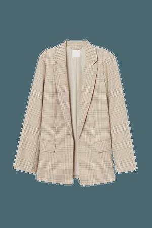 Long Jacket - Beige/orange plaid - Ladies   H&M US