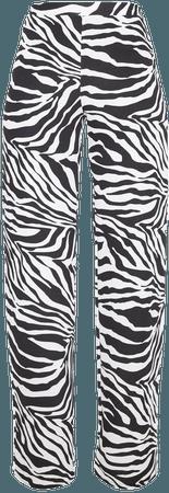 Zebra Wide Leg Trouser | Trousers | PrettyLittleThing USA