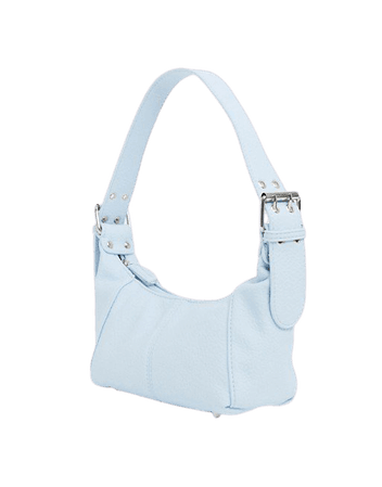 ASOS DESIGN shoulder bag in grainy pastel blue with buckle strap | ASOS