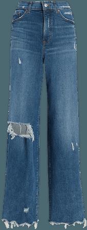 Super High Waisted Ripped Raw Hem 90s Wide Leg Jeans | Express