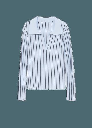 Striped polo shirt with pleat detail - Women | Mango USA