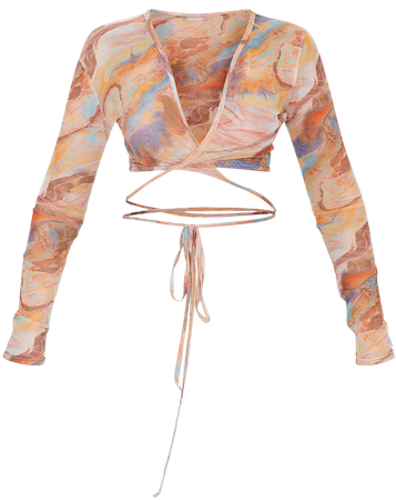 Nude Abstract Mesh Tie Long Sleeve Crop Top | PrettyLittleThing USA
