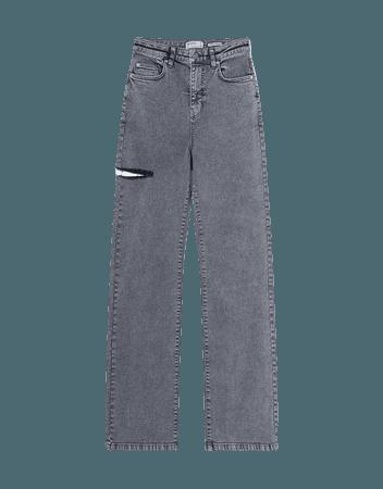 Twill straight-fit pants with rips - NEW - Woman | Bershka