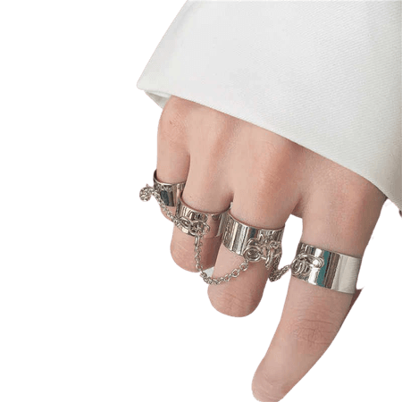 Kpop Punk Cool Egirl Multi layer Adjustable Chain Four Fingers Open Silver Color Rotate Rings for Men Women Bff Party Jewelry| | - AliExpress