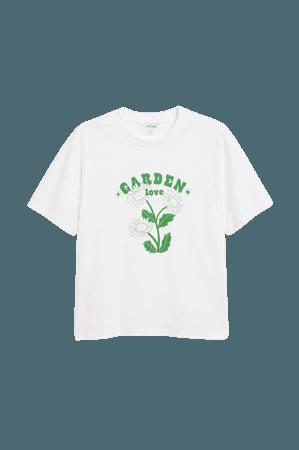 Cotton tee - Garden print - T-shirts - Monki WW