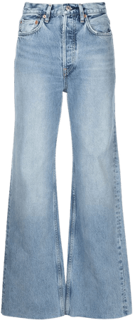 Shop RE/DONE 70s Ultra high-rise wide-leg jeans with Express Delivery - FARFETCH