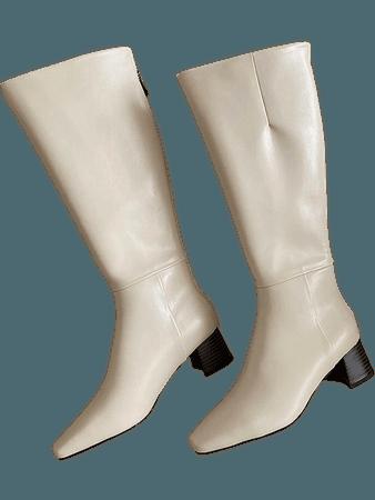 Square Toe Chunky Heeled Boots | SHEIN USA