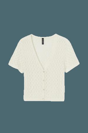 Pointelle Cardigan - Cream offwhite - Ladies | H&M US