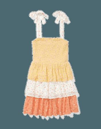 AE Printed Smocked Tie-Strap Mini Dress