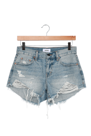 Pistola Gigi Shorts - Light Wash Denim Shorts - Low-Rise Shorts - Lulus