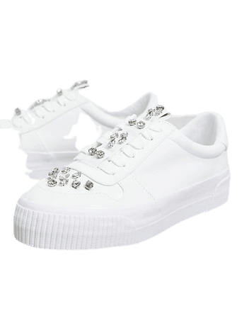 ASOS DESIGN Dekko sneakers with faux gems in white | ASOS