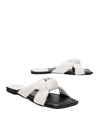 Faux Leather Square Toe Knot Detail Flat Sandals | Nasty Gal