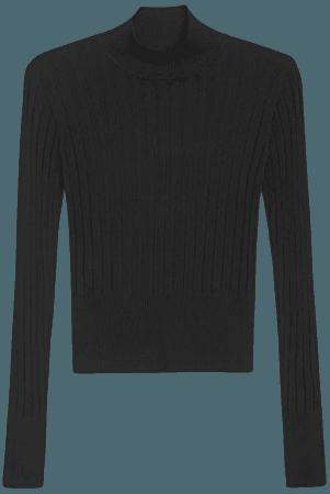 Ribbed turtleneck - Black - Turtleneck tops - Monki WW