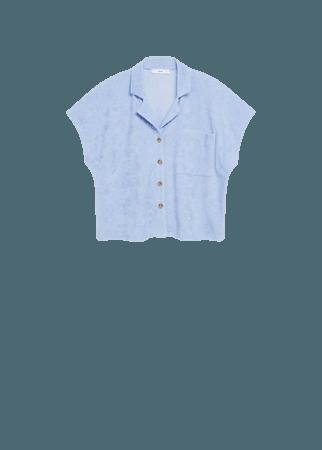 Cotton towel texture polo shirt - Women   Mango USA