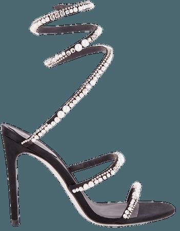 Rene Caovilla Cleo Ankle-Wrap Embellished Satin Sandals | SaksFifthAvenue