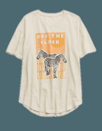 Aerie Zebra Graphic Distressed Boyfriend T-Shirt