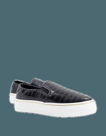 Lipsy moc croc flat form sneakers in black | ASOS