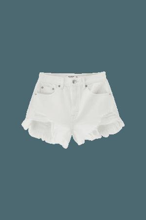 Denim shorts with frayed hems - pull&bear