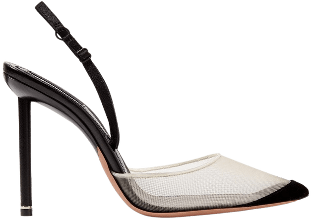 Black Alix mesh and suede slingback pumps | Alexander Wang | NET-A-PORTER