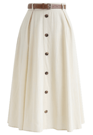 Buttoned Belted A-Line Midi Skirt in Cream - Skirt - BOTTOMS - Retro, Indie and Unique Fashion
