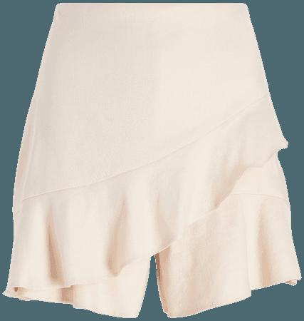 High Waisted Linen-blend Ruffle Skort | Express
