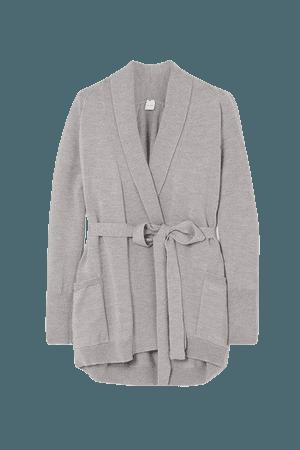 Leisure Belted Wool Cardigan - Light gray