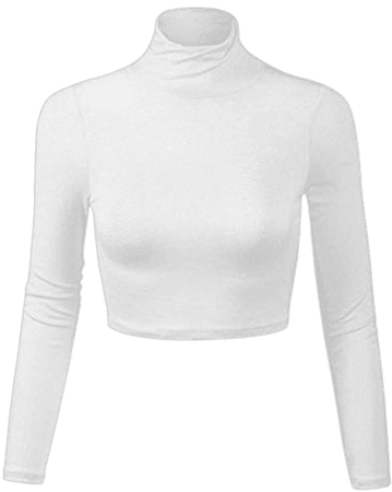 white turtle neck crop top