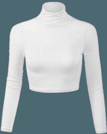 white turtle neck crop top