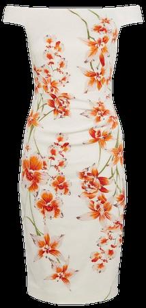 Italian Signature Stretch Floral Bardot Dress | Karen Millen