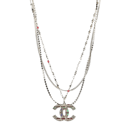 CHANEL Crystal Pearl Tweed Effect Multi Strand CC Short Necklace Gold Red Green 477532