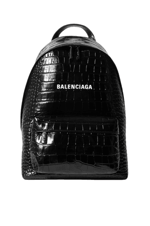 Black Everyday croc-effect leather backpack | Balenciaga | NET-A-PORTER