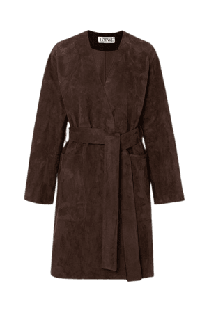 Belted Suede Coat - Brown