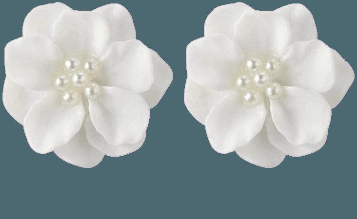 Amazon.com: Clearance! Fashion Design Womens White Flower Shaped Ear Studs Earring Lovely Ear Jewellery Hypoallergenic Pearl Earrings (White): Jewelry