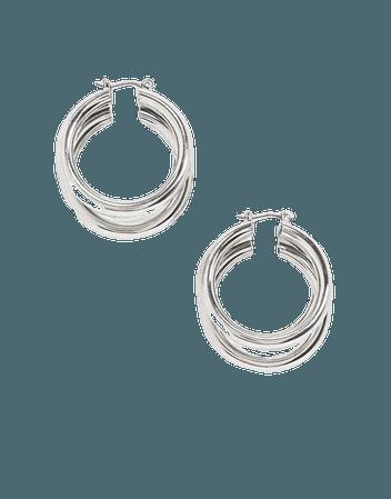 Topshop chunky triple hoop earrings in silver | ASOS