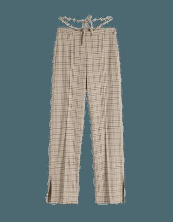 Wide-leg crepe pants - Pants - Woman | Bershka