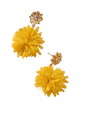 Fabric Flower Charm Drop Earrings | SHEIN USA