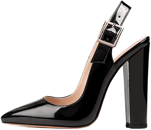 """*clipped by @luci-her* Slingback Pointed Toe Pumps Ankle Strap Chunky Square Heel 4.7"""" High Block Heel 