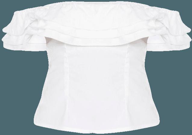 White Ruffle Edge Bardot Crop Top   Tops   PrettyLittleThing USA