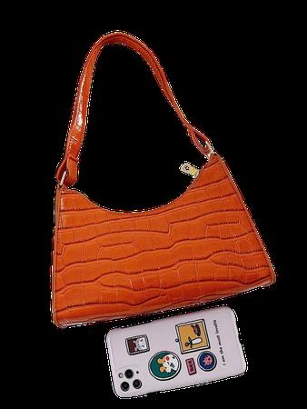 Croc Embossed Shoulder Bag | SHEIN USA