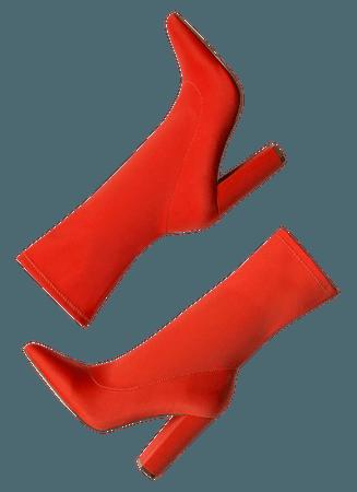 Tall Order Pointy Sock Booties LILAC NUDE ORANGE RED BLACK SLATEBLUE WHITE - GoJane.com