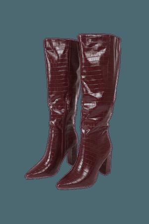 Burgundy Boots - Knee High Boots - Crocodile-Embossed Boots - Lulus