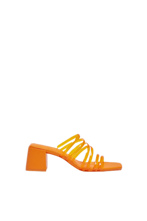 Heeled sandals with vinyl straps - pull&bear