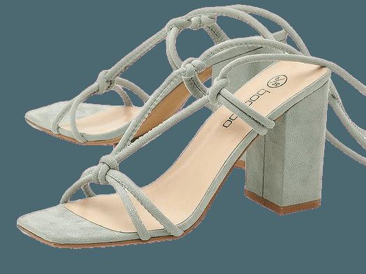 Strappy Knot Detail Block Heels | boohoo