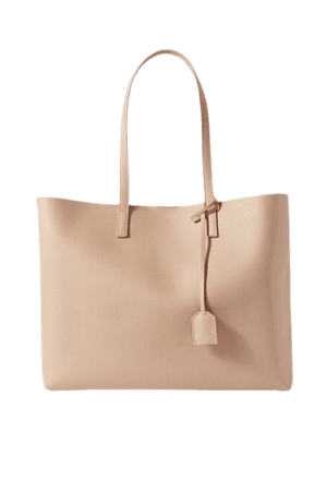 East West Large Leather Tote - Beige