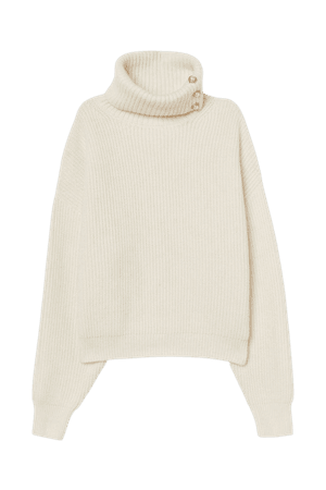 Rib-knit Turtleneck Sweater - Cream - Ladies   H&M US