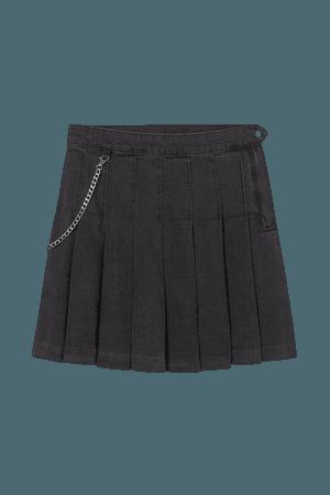 Pleated Denim Skirt - Black - Ladies | H&M US