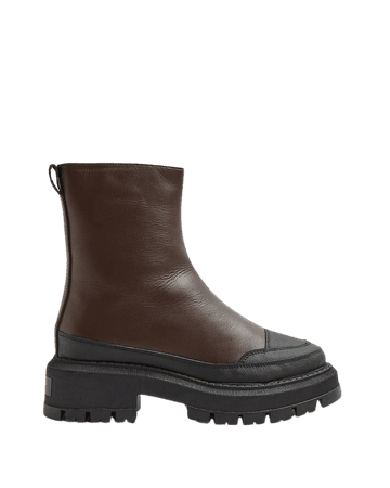 Brown leather chunky boots   River Island