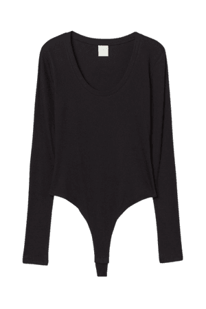 Ribbed Thong Bodysuit - Black - Ladies | H&M US
