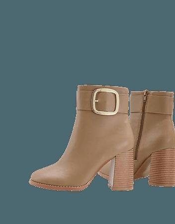 ASOS DESIGN Wide Fit Repeat block heel buckle boots in taupe | ASOS