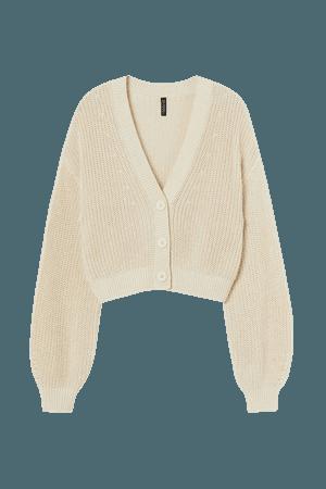 Cropped Cardigan - Light beige - Ladies | H&M US